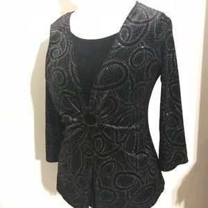 Notations Black Sparkling Sweater W/ Built In Top